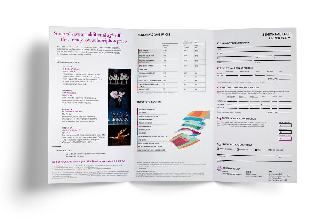 COMPANY: San Francisco Ballet  PROJECT: Brochure  MY ROLE: Designed layout according to brand guidelines along with the marketing department.