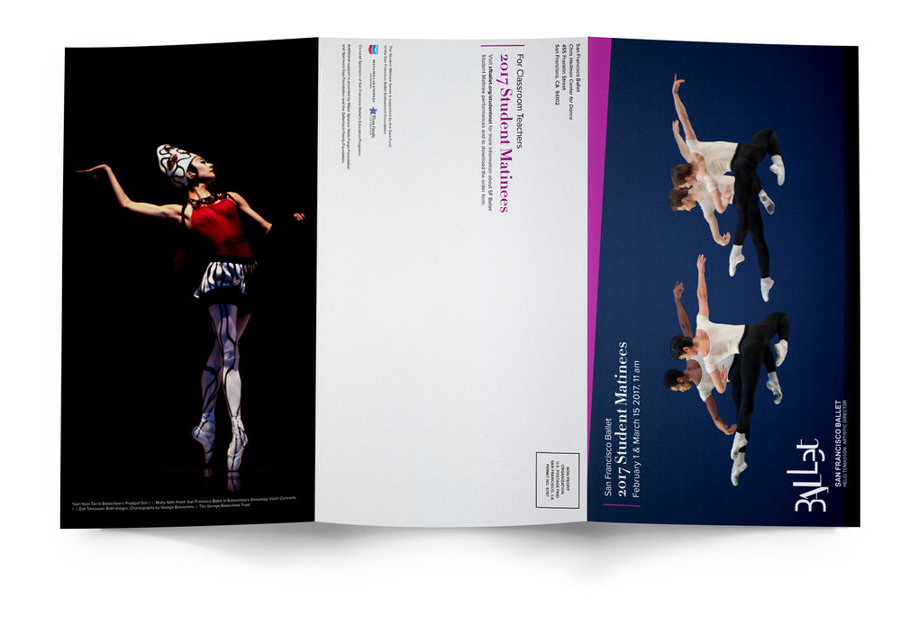 COMPANY: San Francisco Ballet  PROJECT: Brochure  MY ROLE: Designed layout according to brand guidelines along with the marketing department. Applied minor retouching.