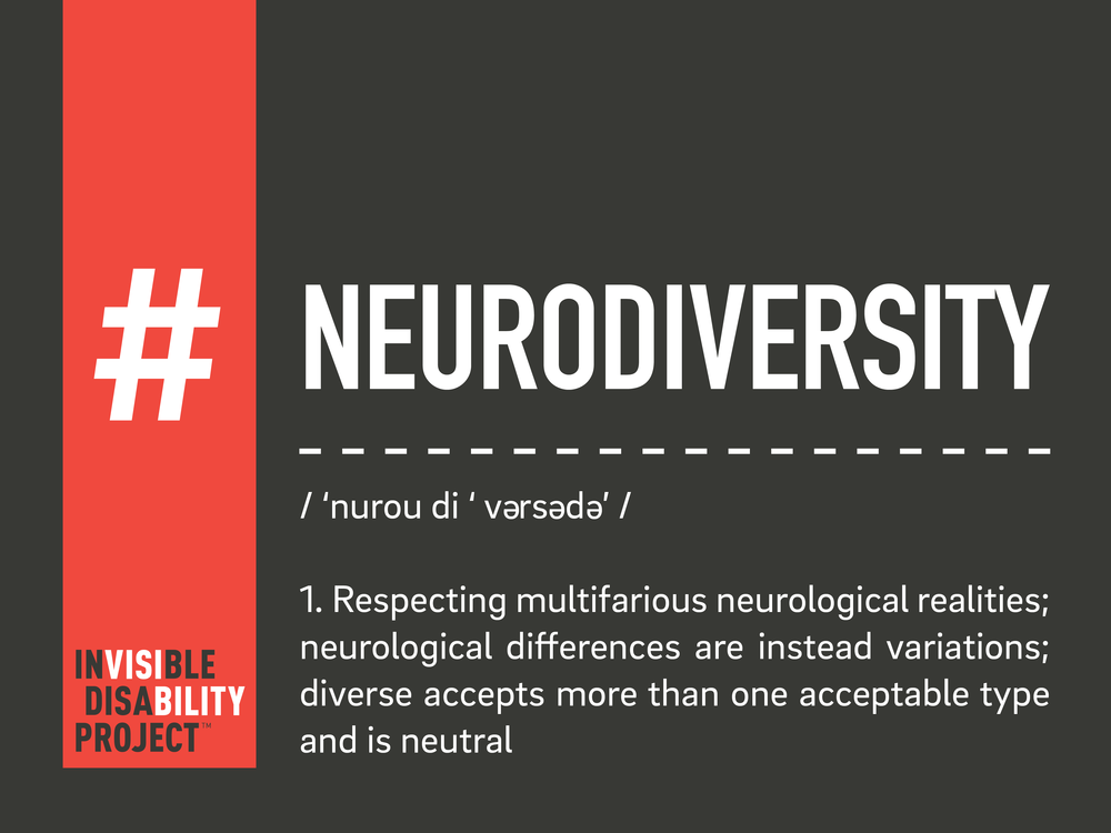 Neurodiversity. Respecting multifarious neurological realities; neurological differences are instead variations; diverse accepts more than one acceptable type and is neutral
