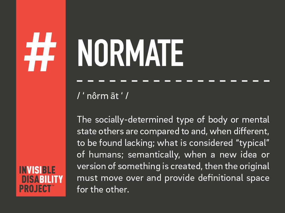 Normate. The socially determined type of body or mental state others are compared to and, when different, to be found lacking