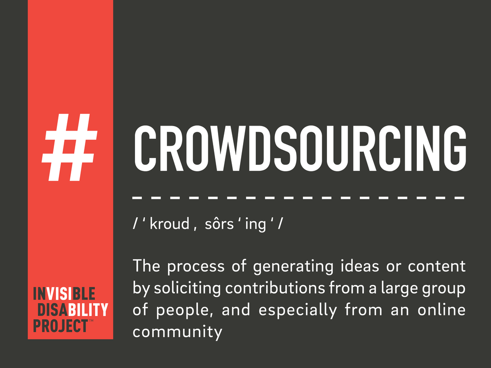 Crowdsourcing. The process of generating ideas or content by soliciting contributions from a large group of people, and especially from an online community.