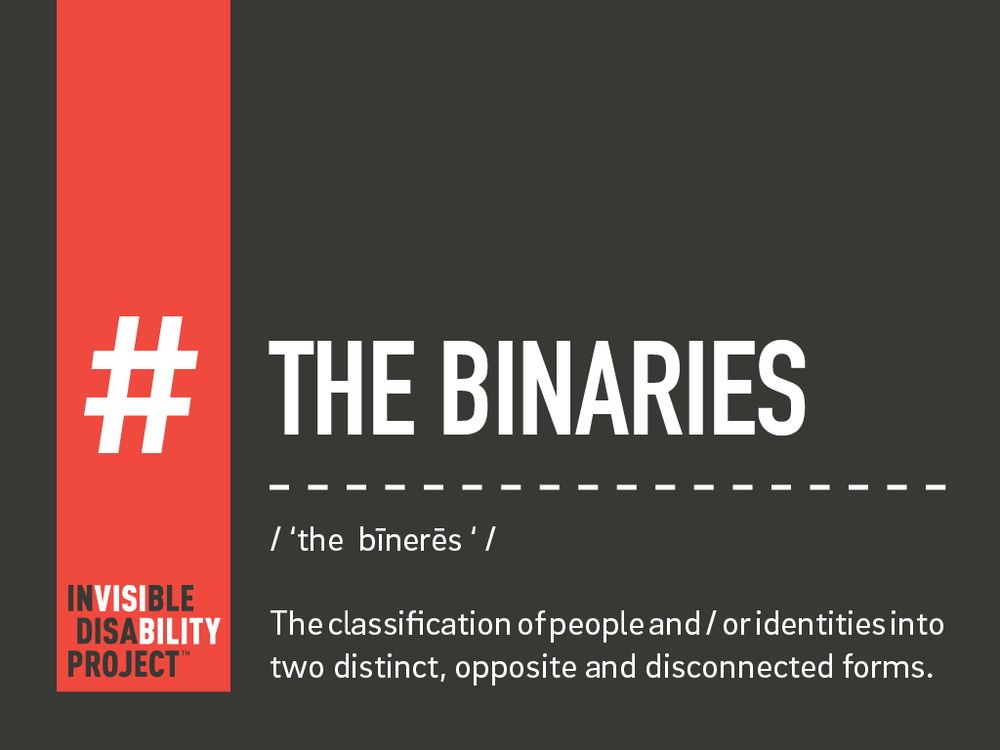 The Binaries. The classification of people and / or identities into two distinct, opposite and disconnected forms