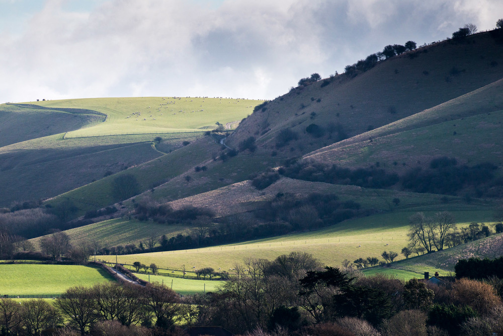 South Downs, looking east from Beeding Brooks, Sussex, England