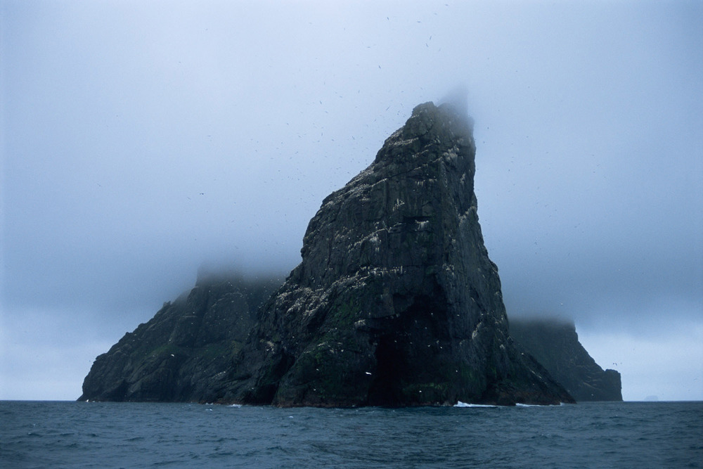 Stac an Armin in cloud, St Kilda Archipelago, Scotland