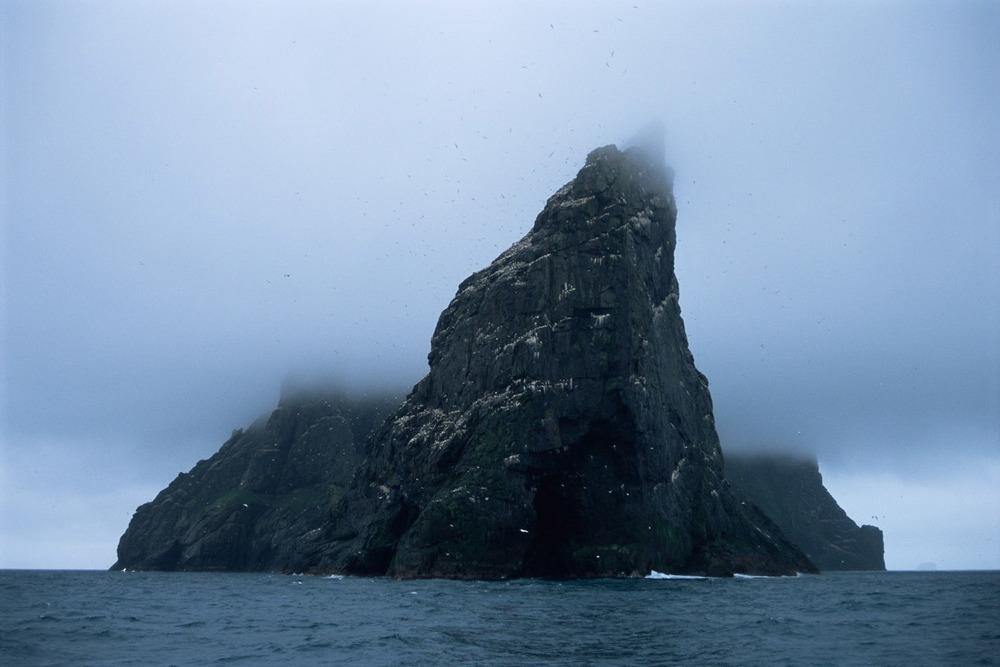 Stac an Armin in cloud, St Kilda Archipelago, Scotland