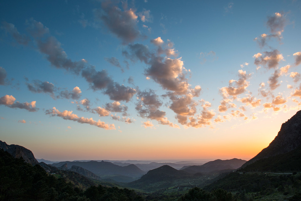 View west from Puerto del Boyar at sunset, Sierra de Grazalema Natural Park, Andalucía, Spain