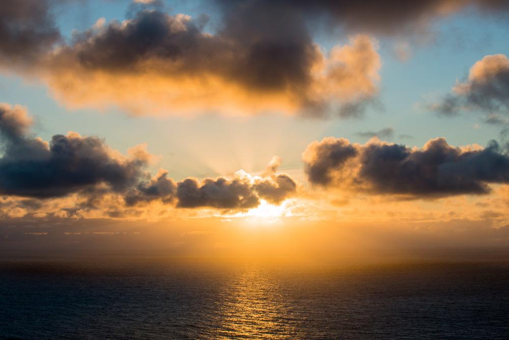 Sunset over North Atlantic Ocean, Hermaness National Nature Reserve, Unst, Shetland Islands, Scotland
