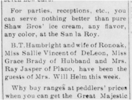 Wise County Messenger Friday 9th August 1912. USA.