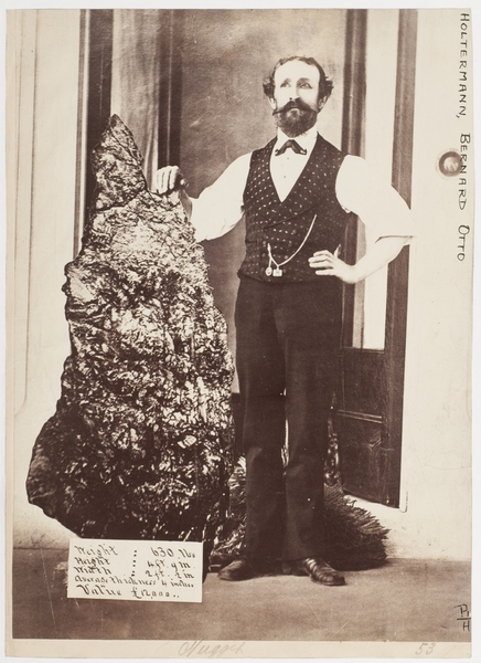 Photo: B.O Holterman with the Holterman Nugget, ca. 1874-1876 / photographer American & Australasian Photographic Company. State Library of New South Wales.  http://acms.sl.nsw.gov.au/item/itemLarge.aspx?itemID=888373