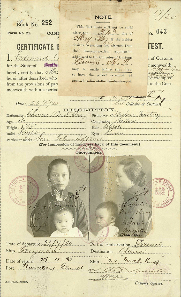 Certificate Exempting from Dictation Test for Maudie Kim Kow, 1920.   Photo: National Archives of Australia.   Photo Search:  E752, 20/24 .  http://www.naa.gov.au/collection/snapshots/chinese-australians/kim-kow.aspx