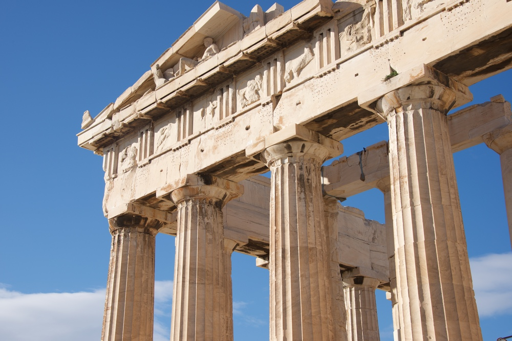 Colonnade and pediment of Parthenon showing sculptures.jpg