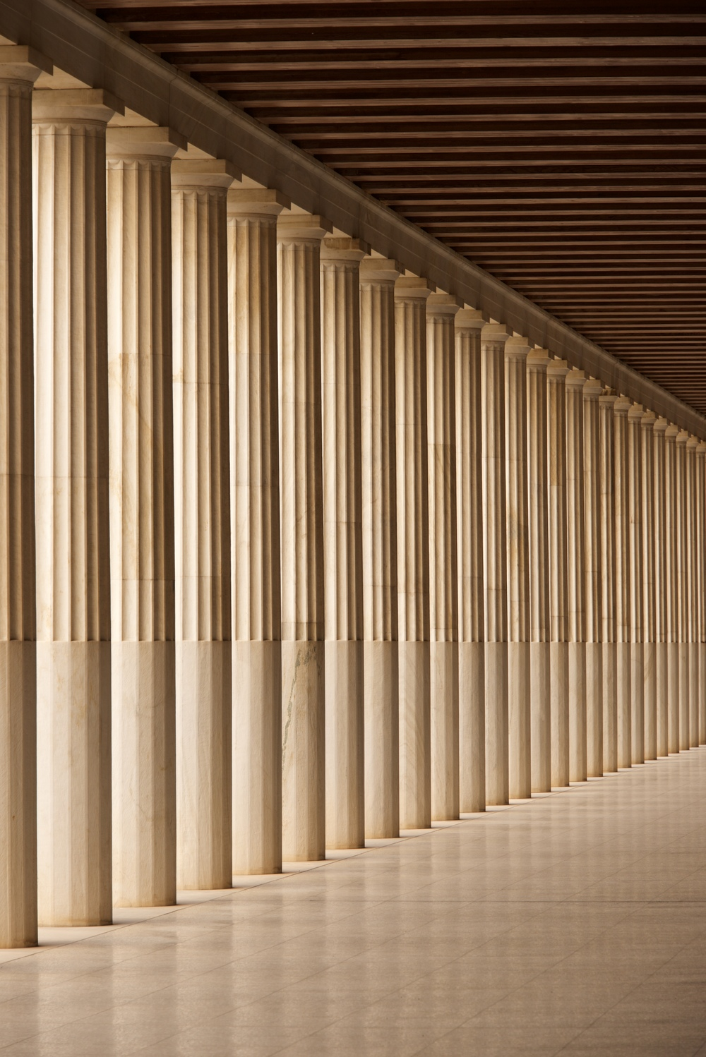 Stoa of Attalos Doric colonnade and ceiling.jpg