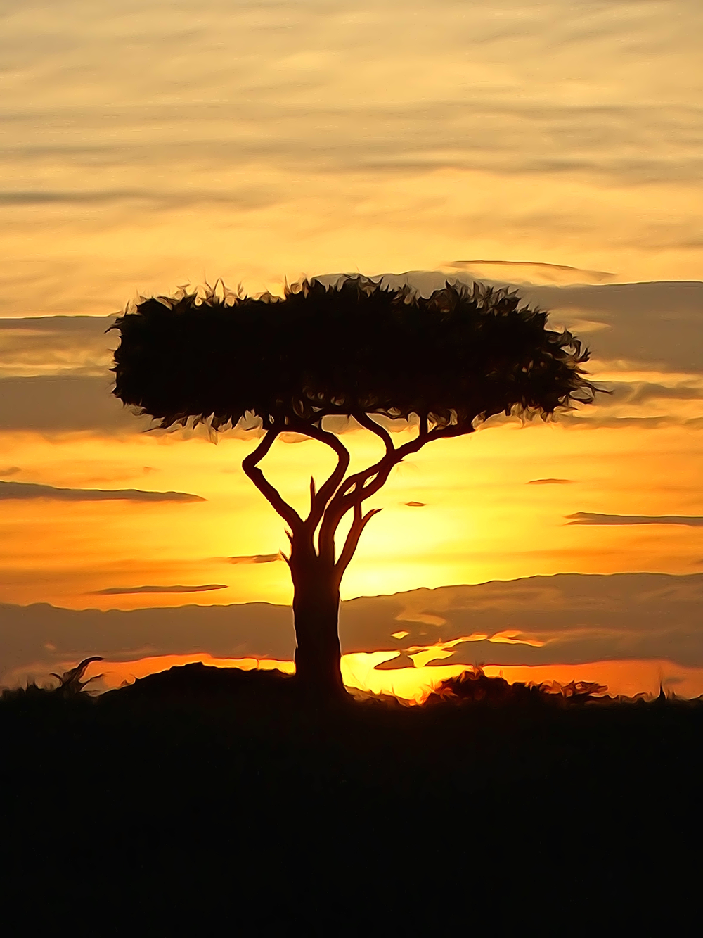 Boscia tree against the Kenyan sunset watercolour
