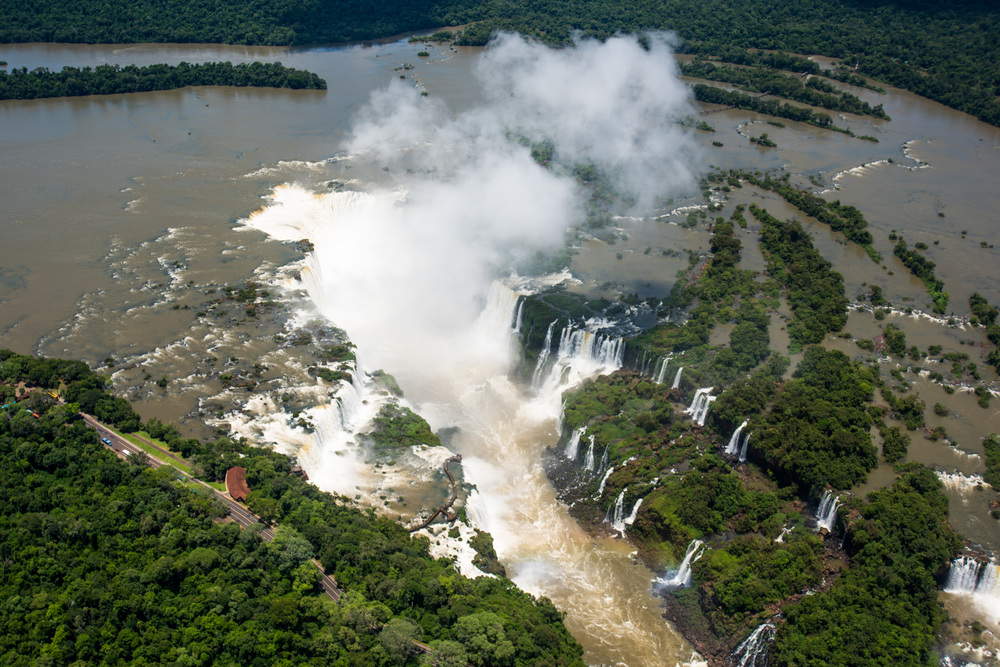 Aerial view of Iguazu Falls in sunshine