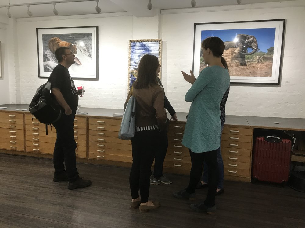 Guests at the private view discussing just how wonderful my pictures are...