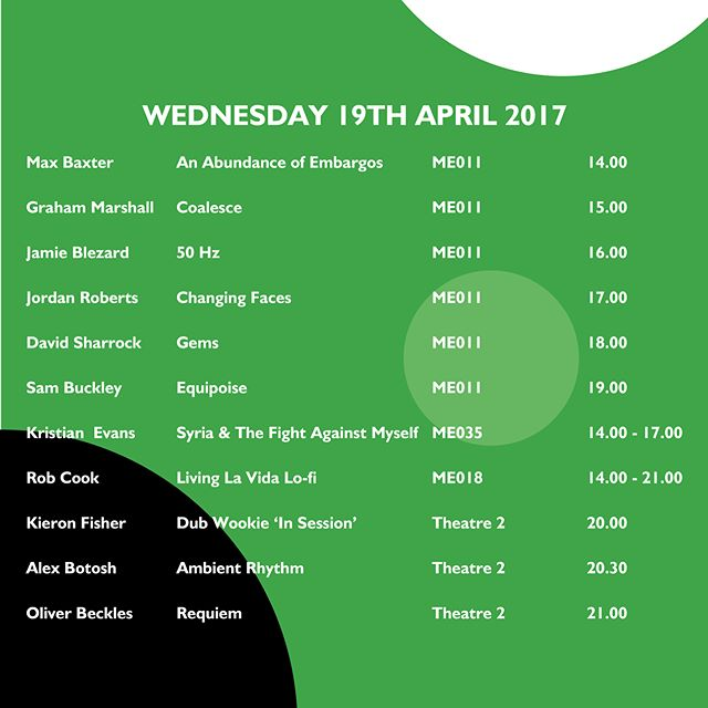 Here the schedules for each day of Swerve 2017! Hope to see you down here at the Media Factory experiencing what the students having work hard towards!  #music #production #swerve #2017 #uclan #LancsArtsFest @lancsartsfest