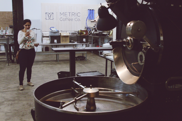 Tonya capturing the Metric Roasting Facility