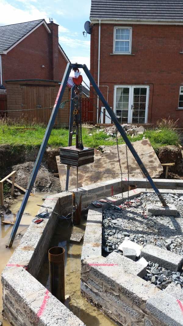 150mm Mini Pile Testing using our test system for inaccessible areas