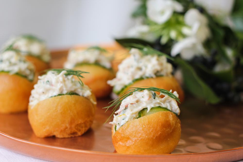 Dorset crab doughnuts, dill pickles