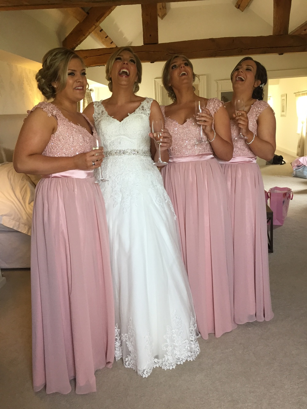 How wedding mornings should be! Glamour, bubbles and laughs a plenty!!