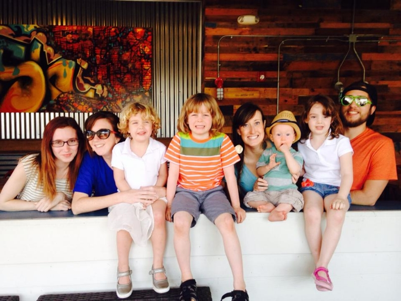 Hannah, Kristen, Hadley, Avery, Emily, Oren, Brooklyn, and Trevor enjoying Triangle before a Sunday trip to the beach.