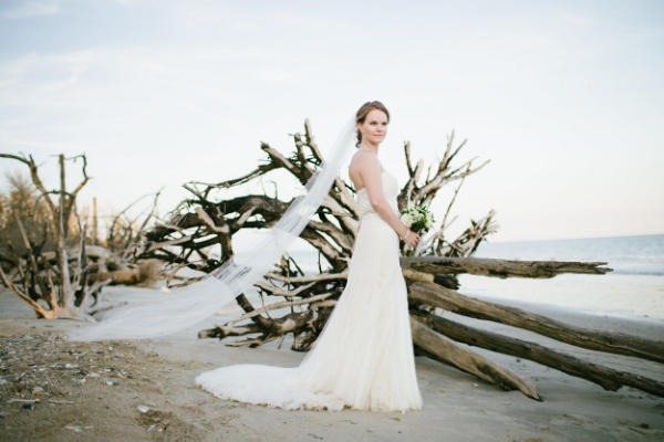 Erica's stunning bridal portrait on Botany Bay (courtesy: Dreampop Media)