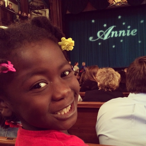 One of our first outings; seeing Annie at the Dock Street Theatre