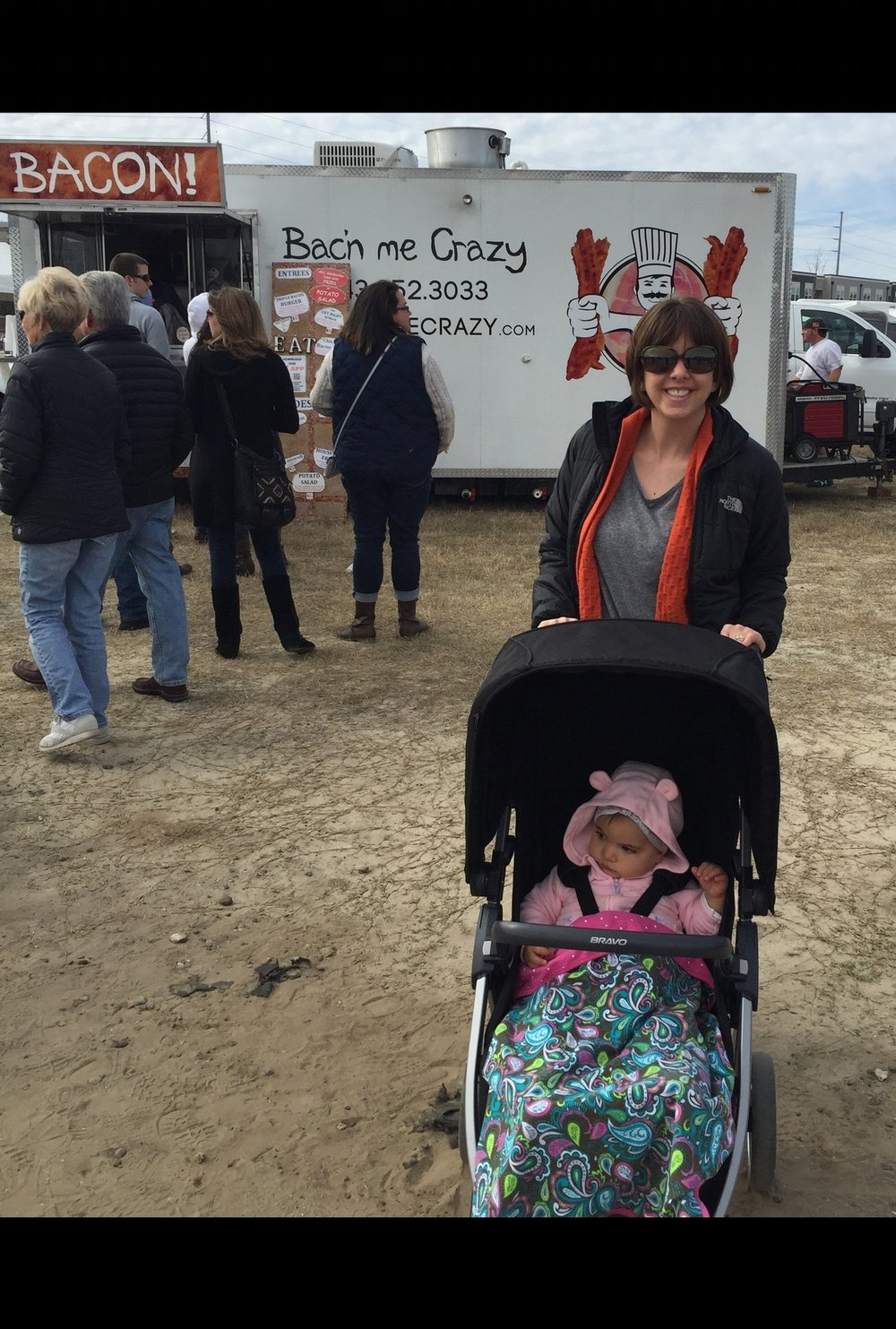 Baby Ruby bundled up at her first Food Truck Festival.