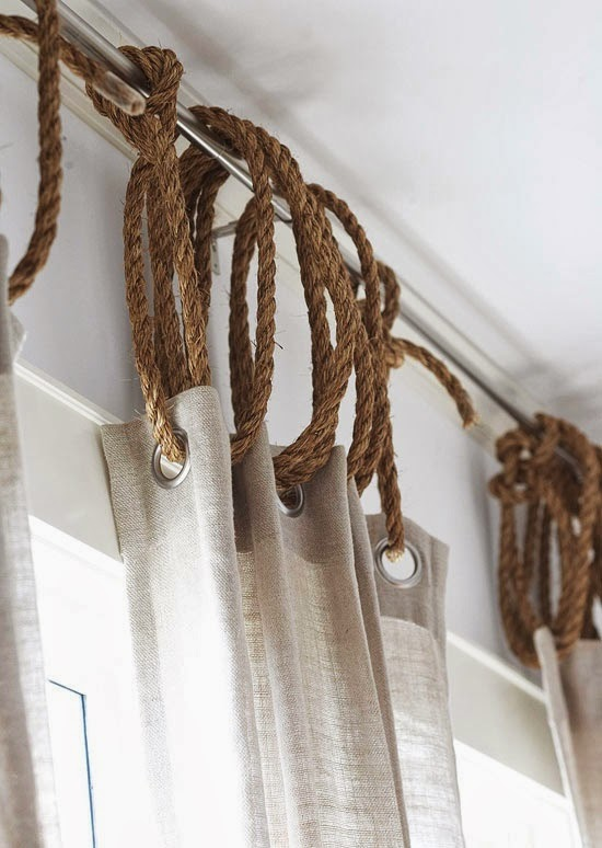 Rope curtain rings via Remodelista