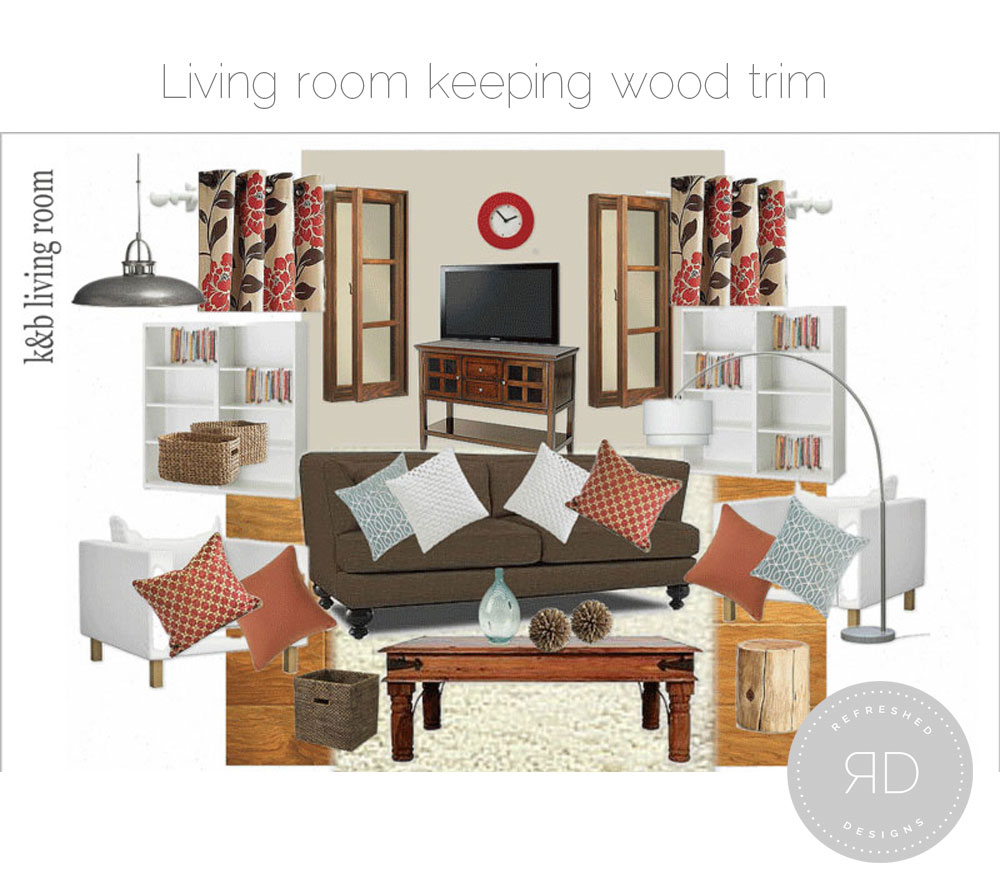 design board - living room with wood trim