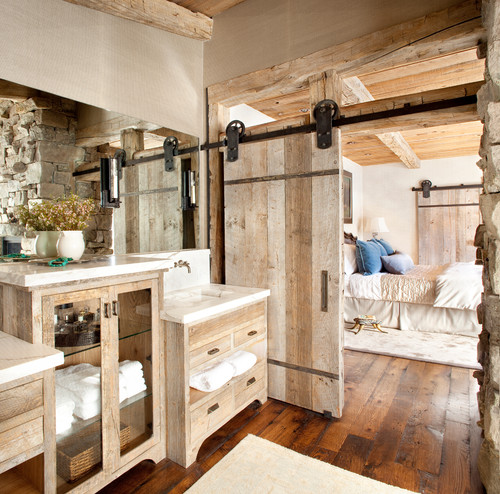 reclaimed wood flooring in bathroom