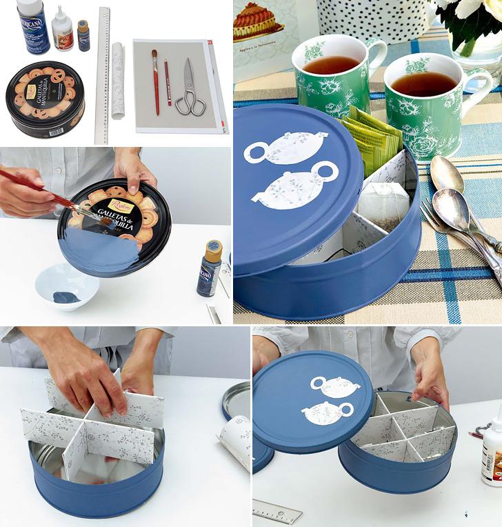 DIY tea tin organizing