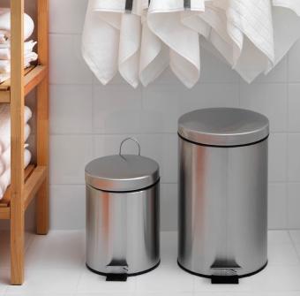 recycling bin in bathroom