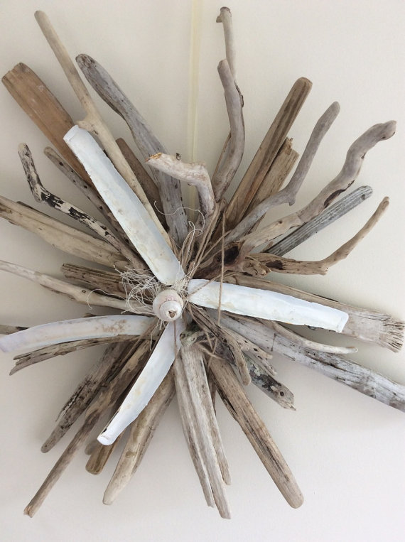 driftwood and shell wreath