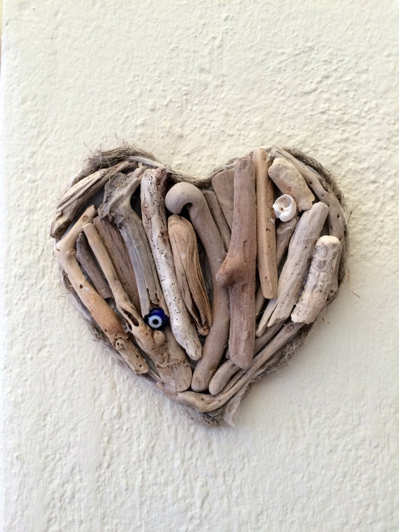 driftwood heart art