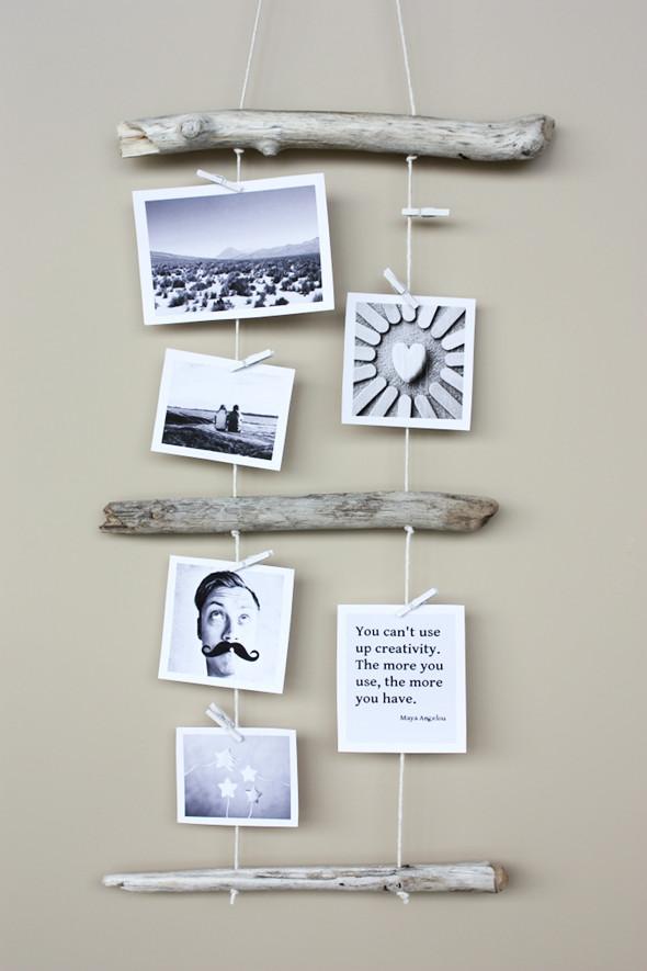 driftwood photo display diy