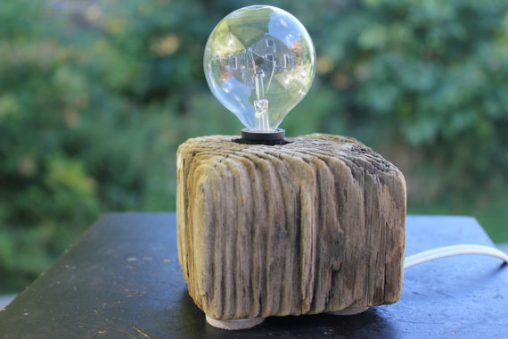 driftwood industrial lamp