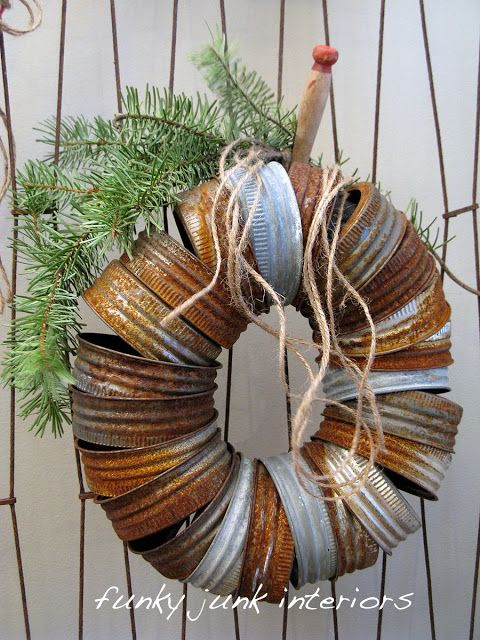 rusted reclaimed can wreath DIY