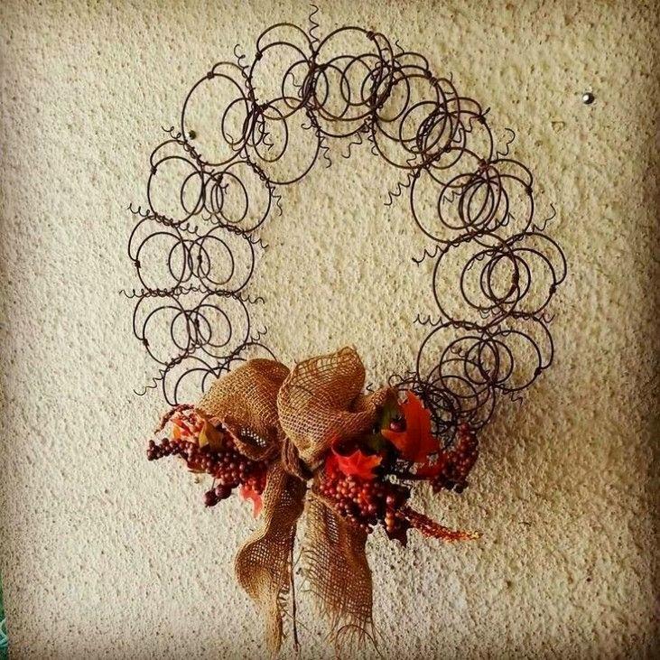 repurposed bedspring wreath DIY