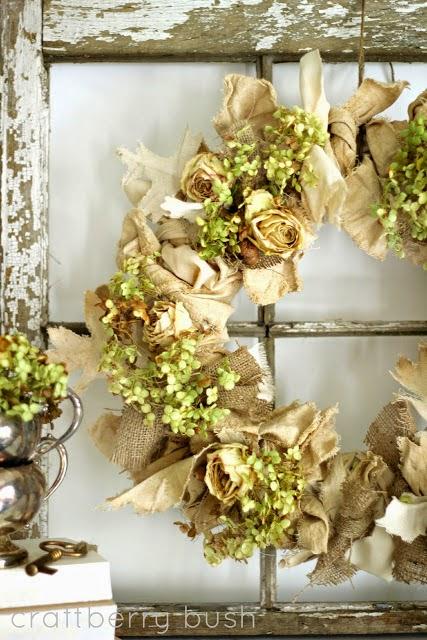 burlap and dried flower wreath DIY