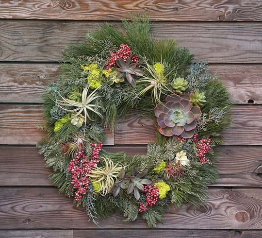 pine and succulent natural wreath