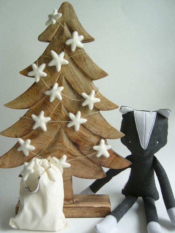 organic felt handmade tree garland