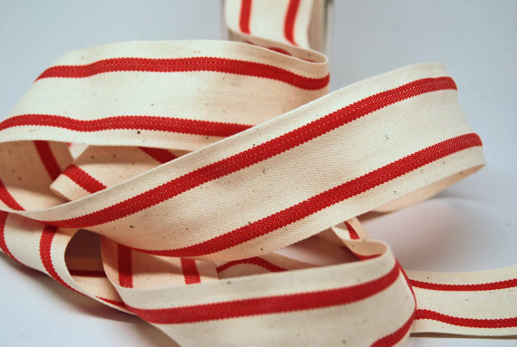 cotton red stripe ticking ribbon for Christmas
