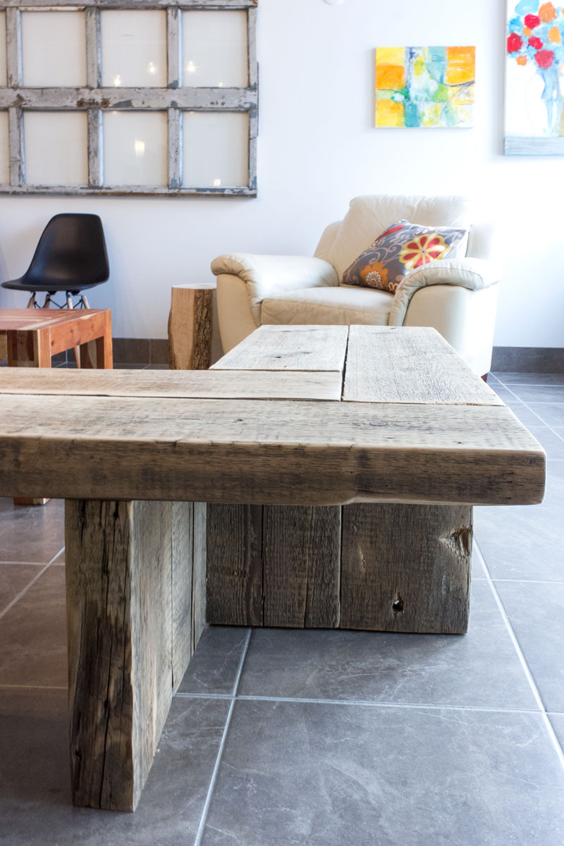 custom industrial L-bench from reclaimed wood
