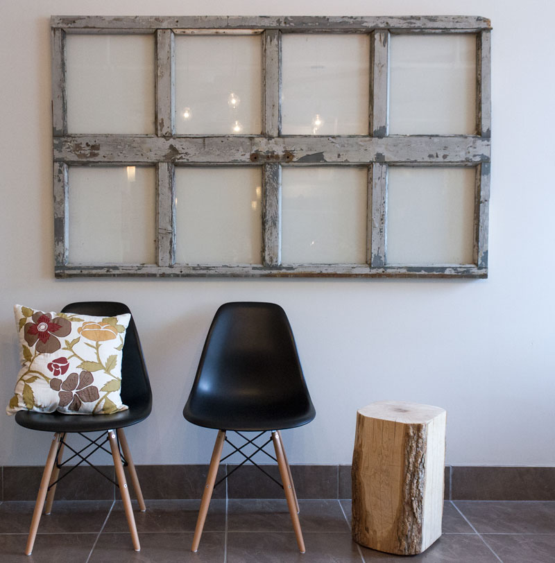 hang a salvaged window as art