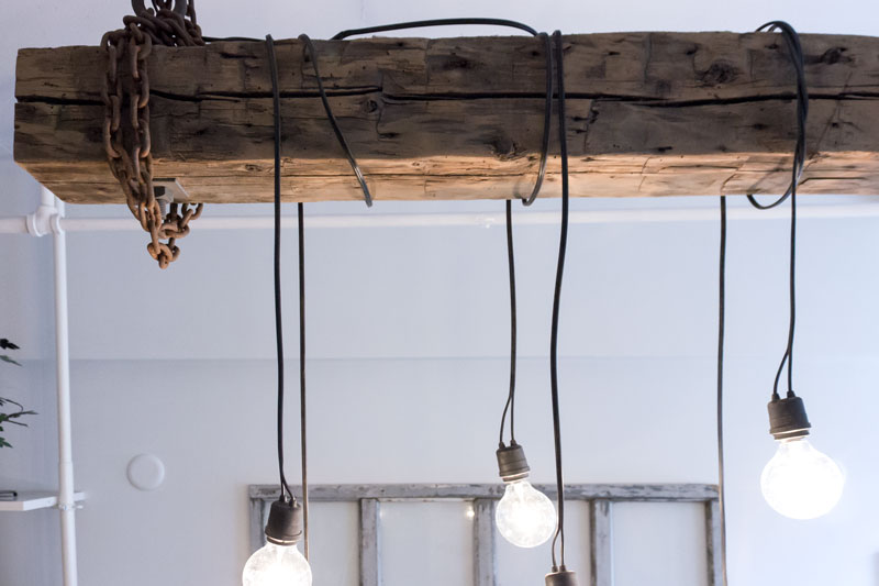 industrial beam chandelier light reclaimed wood handcrafted in Canada