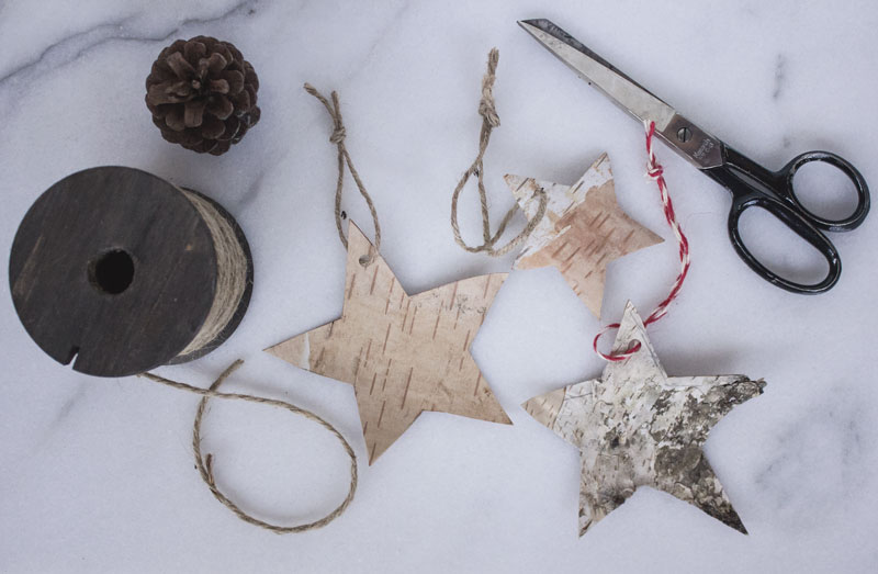 DIY simple Christmas decorations using birch bark