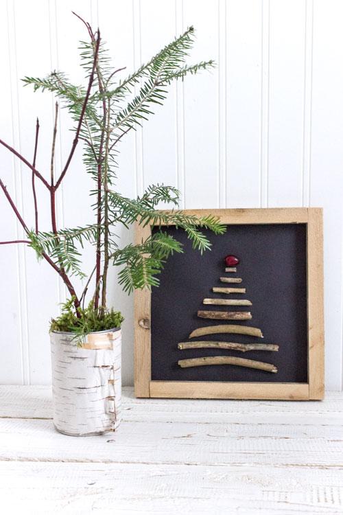 DIY Christmas decor using sticks