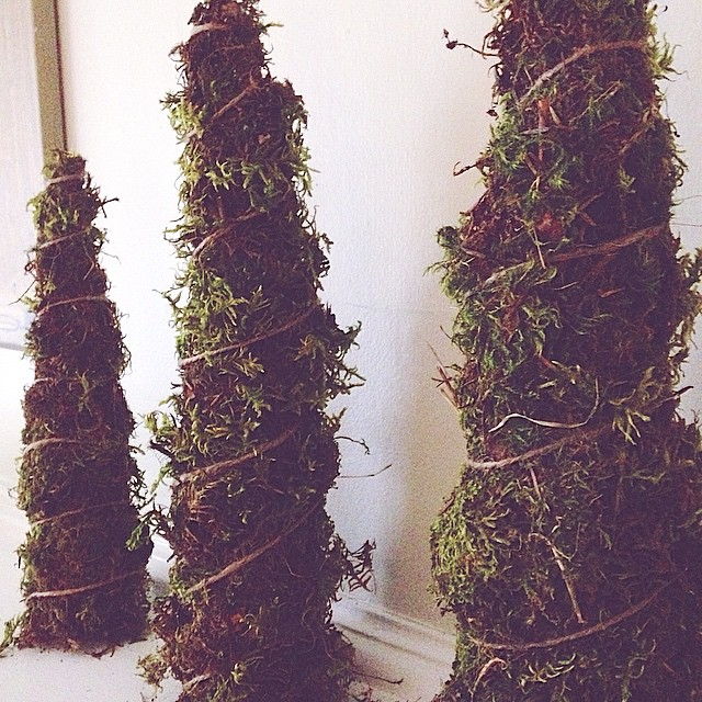 moss DIY Christmas trees - simple, natural holidays