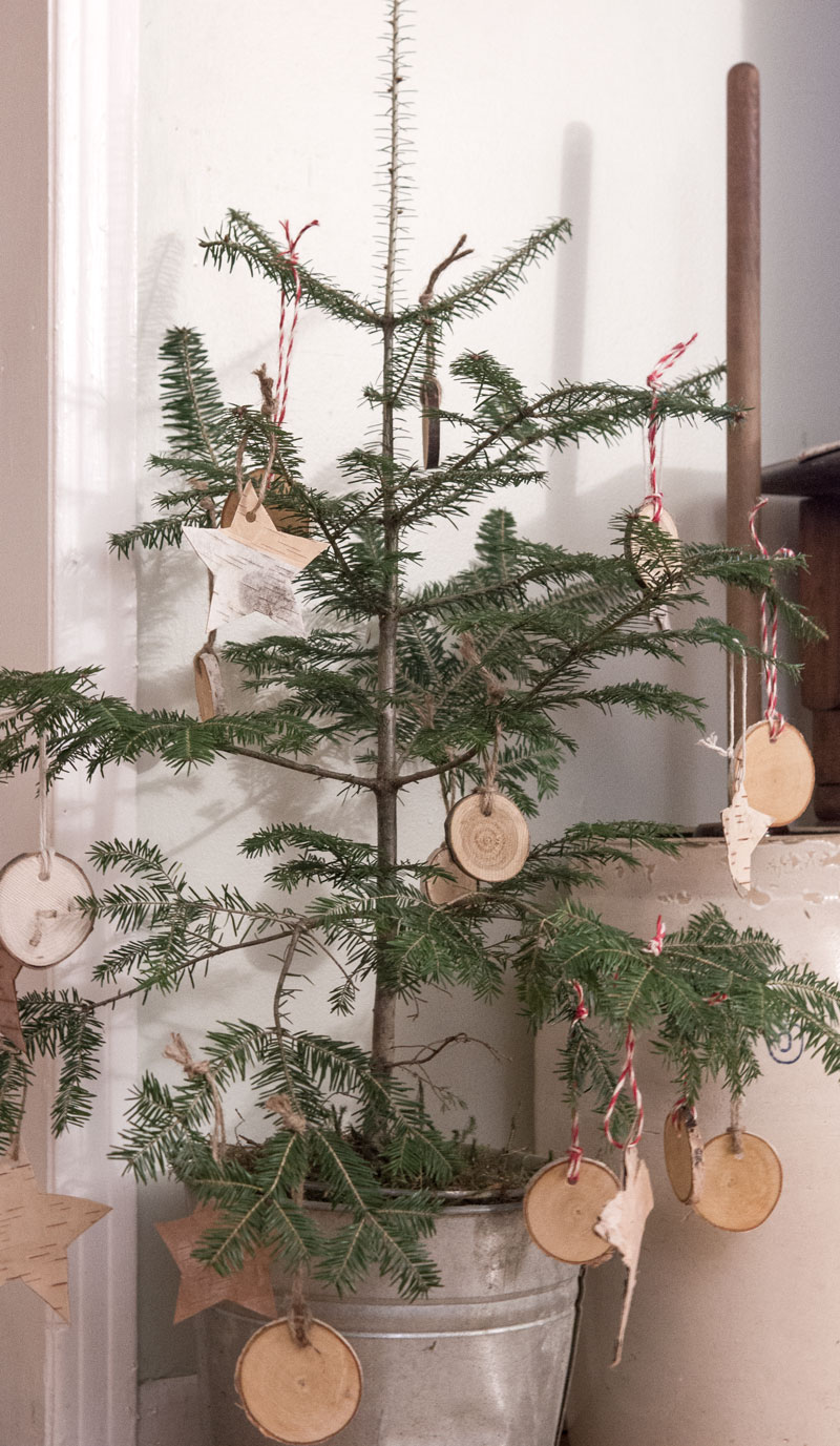 small Christmas tree with natural ornaments